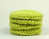 Lime Face Pads, Crochet Facial Round, Organic Cotton Washcloth, Lime Green Scrubby