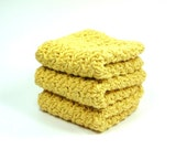 Gold Dish Cloth, Crochet Wash Cloth, Yellow Cotton Face Cloth