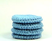 Blue Skies Face Pads, Crochet Cotton Rounds, Small Wash Cloths