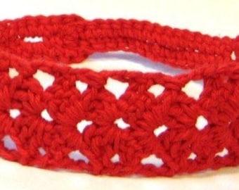 Woman Crochet Headband..Red Cotton Hair Band..Adjustable