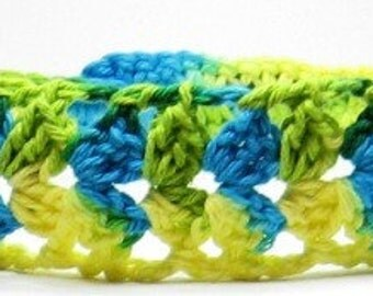 Crocheted Lace Headband...Adjustable Cotton Hairband..Yellow, Lime Green, Turquoise