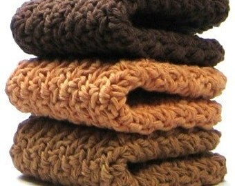 Cinnamon Coffee Dishcloths, Crochet Cotton Dish Cloths, Washcloths
