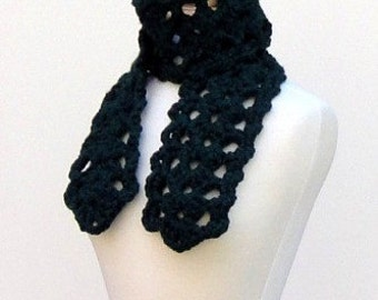 Chunky Crochet Scarf Green Lace Scarf Thick Acrylic Scarf