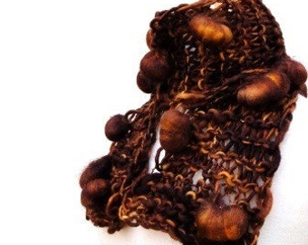 Hand Knit Scarf Hand Spun Yarn Brown Woman's Bobble Scarf
