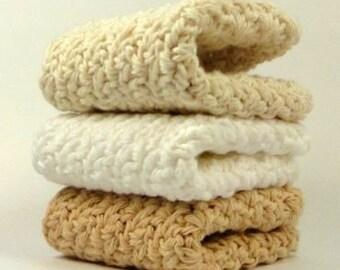 Crochet Cotton Dish Cloths..Beige, White, Ecru Wash Cloths