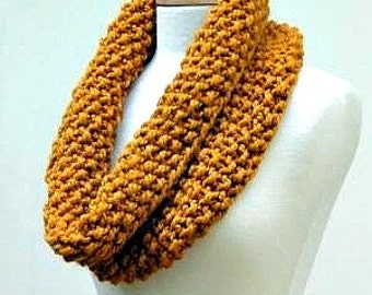 Butterscotch Chunky Knitted Infinity Scarf, Large Warm Gold Knit Cowl