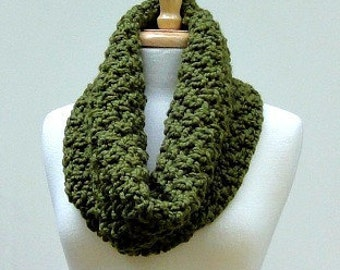 Chunky Hand Knit Cowl Scarf Olive Green Cowl Scarf, Mens Scarves, Womens Scarves