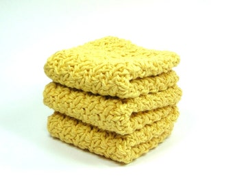 Gold Dish Cloth, Crochet Wash Cloth, Yellow Cotton Face Cloth