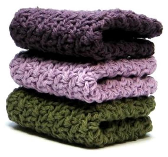 Vineyards Crochet Wash Cloths, Crocheted Cotton Dish Cloths
