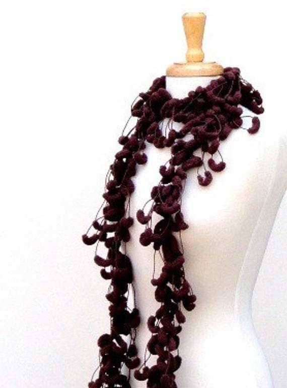 Brown Crochet Scarf, Pompon Fluffy Scarf, Long Skinny Scarf