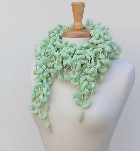 Pastel Green Knitted Pompom Scarf, Fluffy Skinny Scarf Clearance Sale