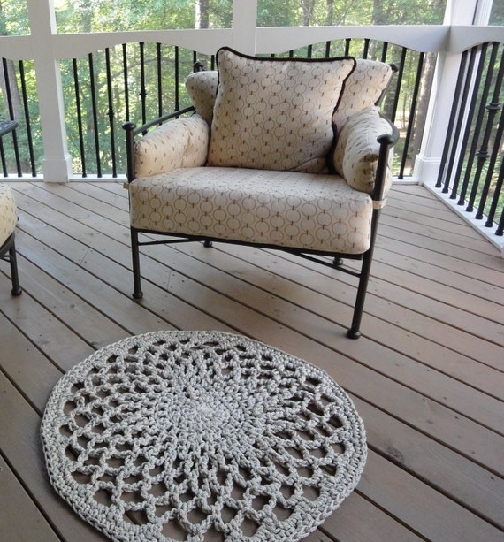 Ecru Outdoor Crocheted Lace Rug for Patio or Porch