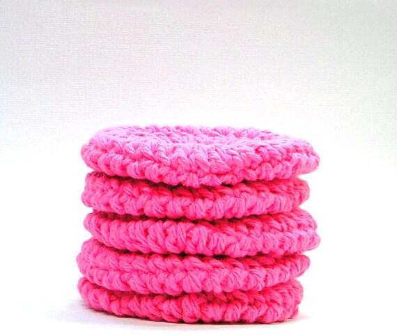 Pink Face Scrubby, Cotton Face Pad, Crochet Facial Scrubber