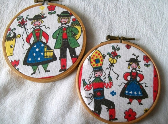 Vintage Fabric Hoop Art, Hoop Art, Swedish Couple