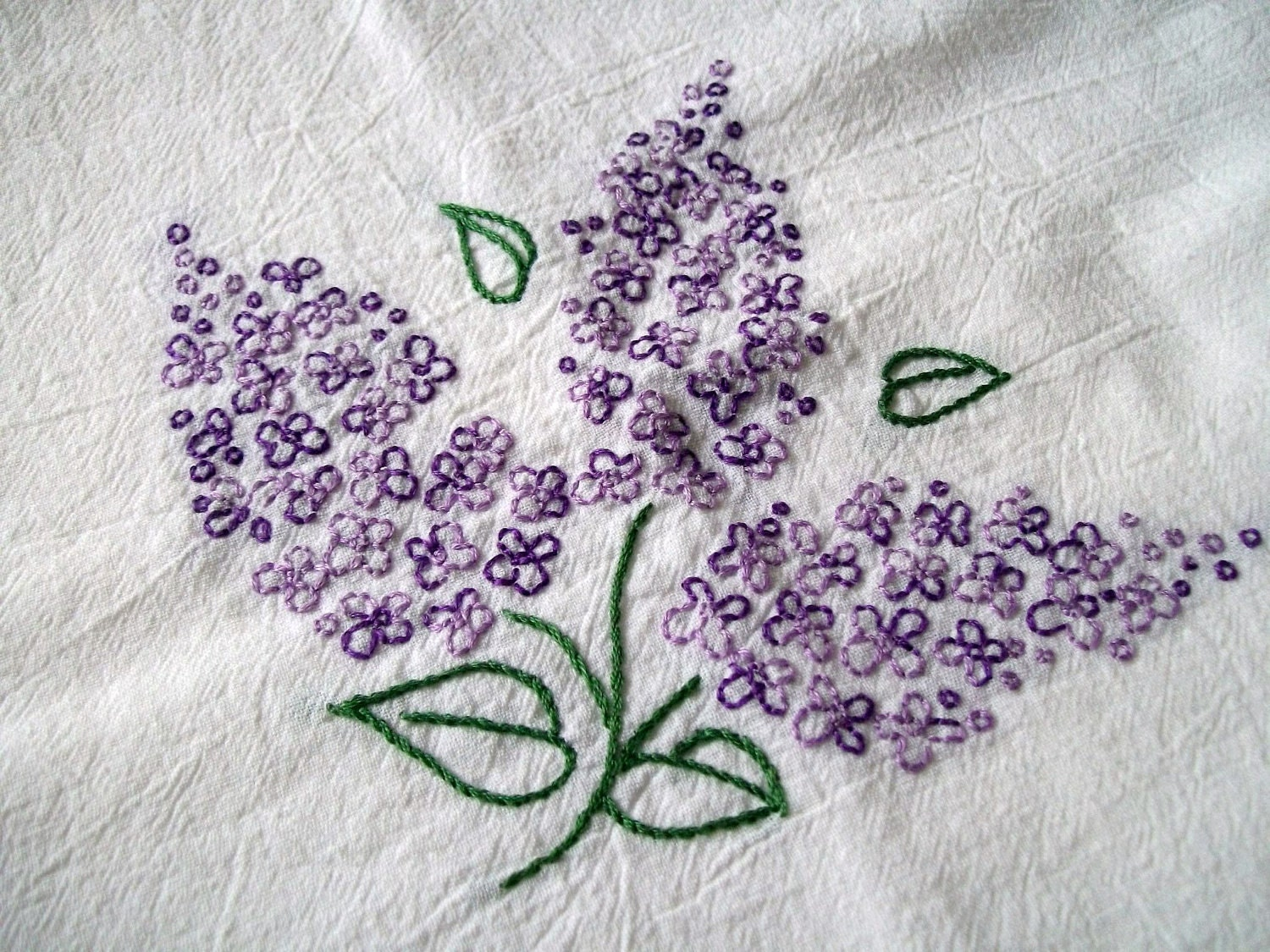 Hand Embroidered Dish Towel Purple Lilacs