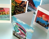 Set of 5 Seacoast Landmark Cards, Maine and New Hampshire - yoken's - harvey's bakery - ioka theater - warren's - the strand