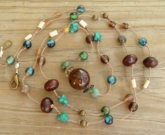 Boho Turquoise Necklace, Long Stone Necklace, Hand Knotted Necklace