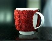 Cable Knit Mug Cozy - Pumpkin Spice