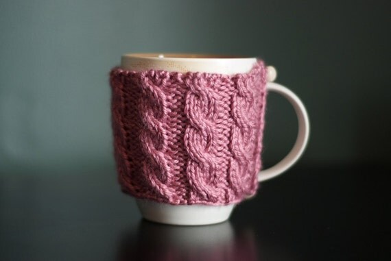 Cable Knit Mug Cozy - Pretty Pink