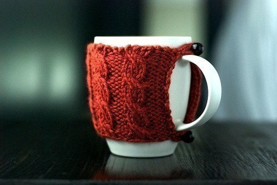 Cable Knit Mug Cozy Pumpkin Spice by waysideviolet on Etsy