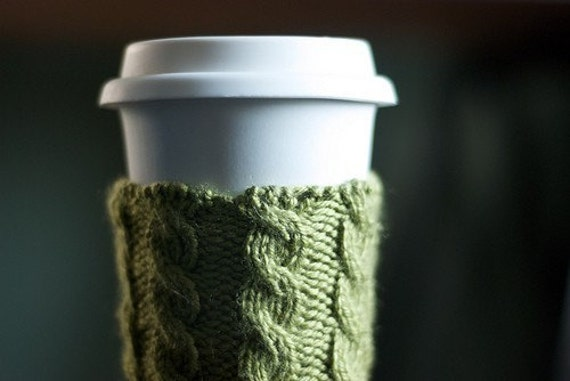 Cable Knit Coffee Cozy - Moss Green