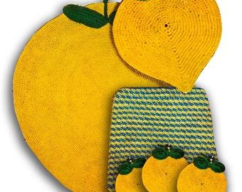 Vintage Crochet Rug Pattern....Crochet Potholder Patterns...Lemons.... Vintage Kitchen Crochet Patterns.. J481