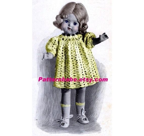 16 18 20 Inch Doll Pattern Vintage Crochet Doll Dress