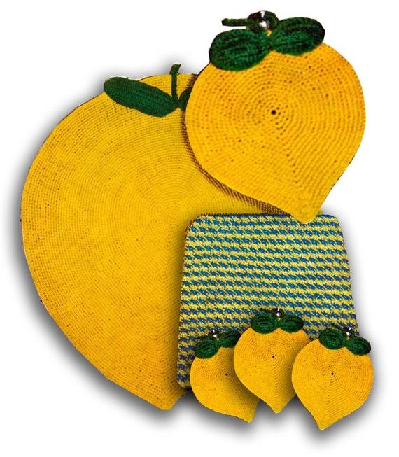 Attractive Vintage Crochet Rug Pattern....Crochet Potholder Patterns...Lemons....  Vintage Kitchen Crochet Patterns.. J481 From PatternBabe On Etsy Studio
