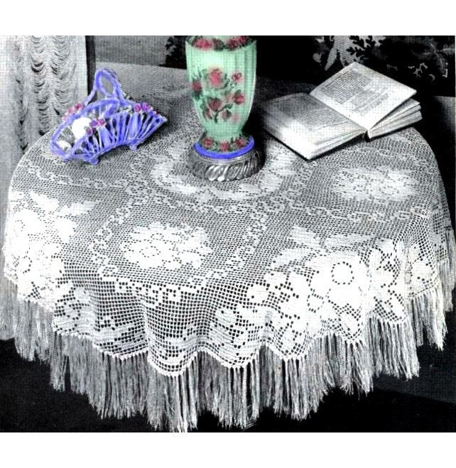 Crochet Tablecloth Pattern Fringe Tablecloth Pattern