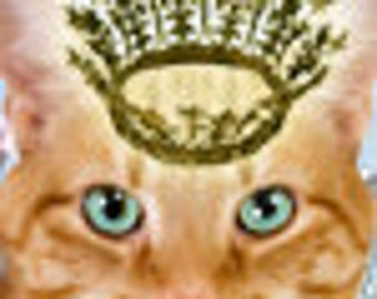 OOAK golden cat king premade Etsy Shop banner with free avatar