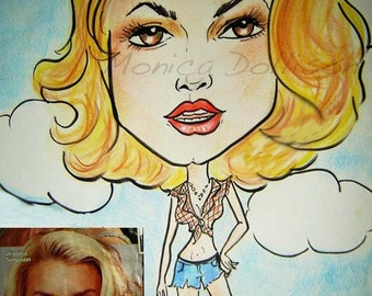 Custom caricature hand drawn of you or favorite celebrity by Monica Dollsion