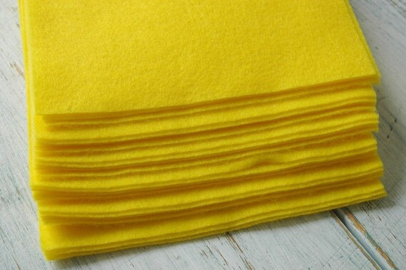 7 pieces of Yellow Eco Felt made from Certified Recycled plastic PET bottles