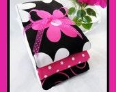 Classy Lassie Burp Cloths Girl Set Black and Hot Pink Baby Girl Burp Cloths - SET OF THREE