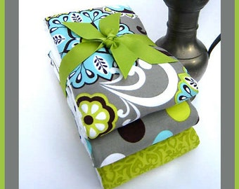 Triplet Baby Burp Cloths in Coordinates of Grey, Citroen Green and Burping Baby Blue