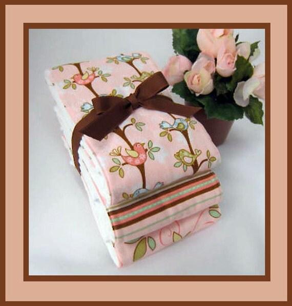 Aviary Baby Burp Cloths, Peachy Girl Baby Bird Burpies, Genuine Gerber Full Size 6-ply Premium Diapers