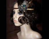 Custom Made Headband with Vintage Elements, Velvet Ribbon and Feathers (Each piece is ONE-of-a-KIND)