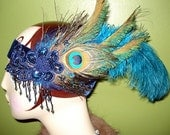RETRO LIAISON by Kat Swank- Modern Flapper Headband with Beading, Ostrich and Peacock Feathers & Upcycled Appliques