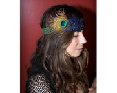 Made to Order Sequin Peacock Headband by Kat Swank with Upcycled Vintage Trim (Each piece is One-Of-A-Kind, OOAK).