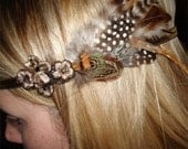 CUSTOM HEADBAND with Vintage Elements, Velvet Ribbon and Feathers (Each piece is One of a Kind).)