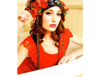 RED Kat Swank Luxury Headdress, Made to Order, Antique Materials- Custom OOAK- Wearable Textile Art, Editorial. LIAISON.