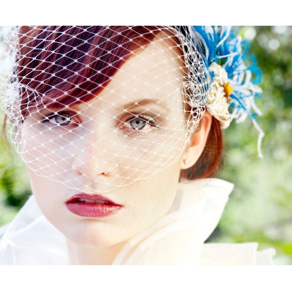 Ready2Ship- LIAISON Ostrich and Bold Peacock Fascinator with Vintage Applique and IVORY, WHITE OR GOLD Birdcage Veil- Your Choice- Wear the pieces together or separate- Feel like a QUEEN for a day wearing this striking, dramatic show stopper.