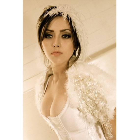Sample Sale- OOAK capelet by Kat Swank with Decadent Beading, Dreamy Marabou Feathers, Vintage Ribbon. Wedding, Bride, Bridal, Prom. LIAISON