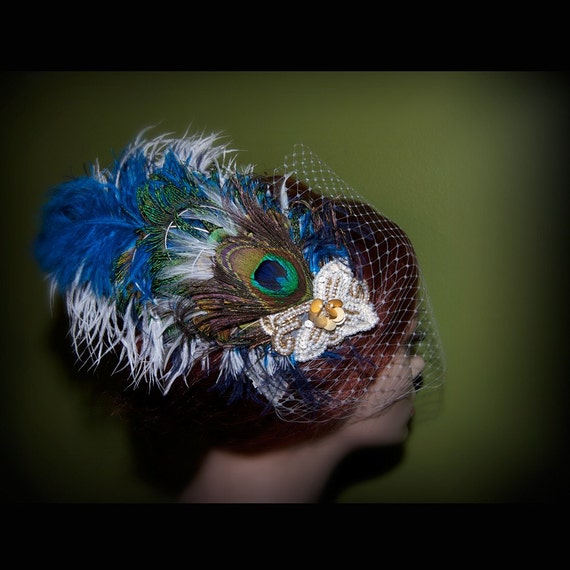 LIAISON Peacock Fascinator with Vintage Applique and Ivory, White OR Gold Birdcage Veil- Your Choice- Wear the pieces together or separate- Feel like a QUEEN for a day wearing this striking, dramatic show stopper.