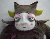 Stuffed Animal Monster Upcycled from a Striped Merino Wool Sweater Small Size