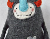 Stuffed Animal Monster from Upcycled Heathered Grey Cashmere Sweater