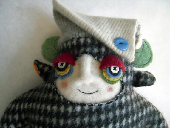 Monster Stuffed Animal Upcycled  from Funky Houndstooth Wool Sweater Totally 80's