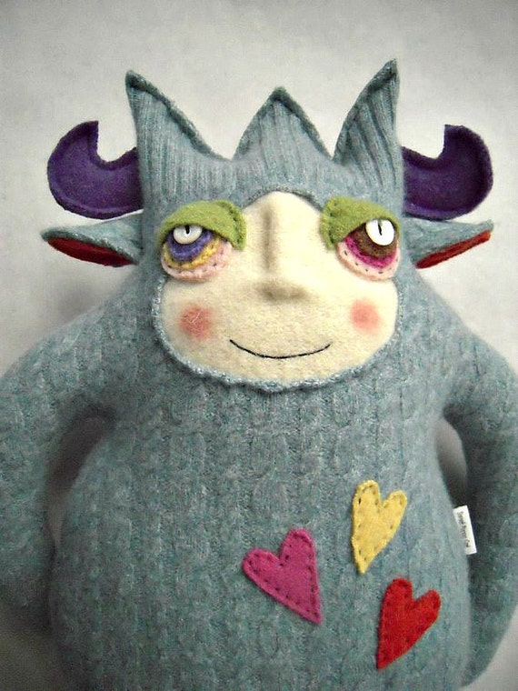 Stuffed Animal Monster Repurposed Angora Wool Upcycled Sweater Mr Crazy Legs