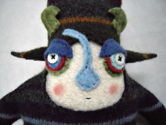 Monster Stuffed Animal Striped Wool Sweater Repurposed Upcycled