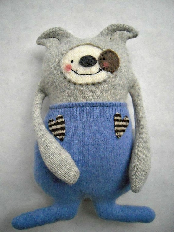 cashmere puppy dog stuffed animal blue grey by sweetpoppycat. Black Bedroom Furniture Sets. Home Design Ideas