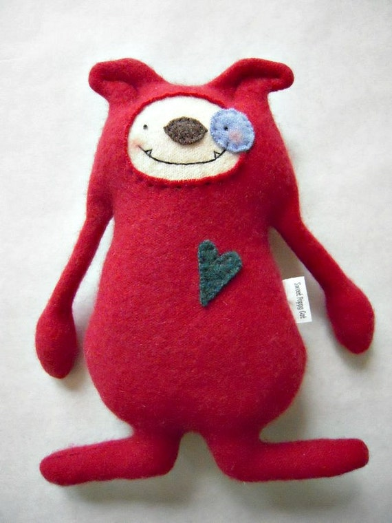Cashmere Puppy Dog Red Stuffed Animal Upcycled Repurposed Sweater